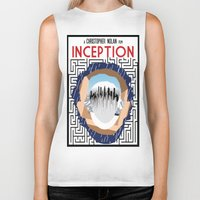 inception Biker Tanks featuring Inception Minimalist Film Poster by Sean Breeding Arthouse