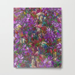 Floral Abstract Stained Glass G175 Metal Print