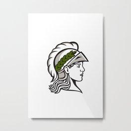 Minerva Head Side Profile Retro Metal Print