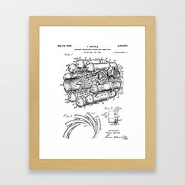 Airplane Jet Engine Patent - Airline Engine Art - Black And White Framed Art Print