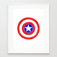 agents of shield Framed Art Prints featuring Shield (W) by Luca Draws