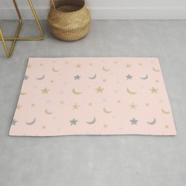 Gold and silver moon and star pattern on pink background Rug