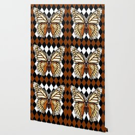 BLACK HARLEQUIN PATTERNED BROWN-WHITE  BUTTERFLY Wallpaper