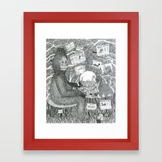 Black and White Sasquatch Framed Art Print