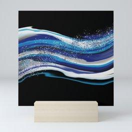 Blue Waves Fluid Art  Mini Art Print