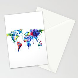World Map, colorful Stationery Cards
