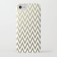 gold foil iPhone & iPod Cases featuring Gold Foil Chevron by Zen and Chic