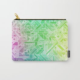 Bright Gradient (Violet Purple Lime Green Neon Yellow) Geometric Pattern Print Carry-All Pouch