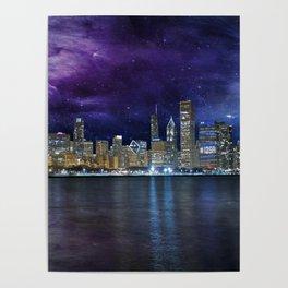 Spacey Chicago Skyline Poster