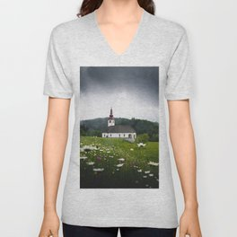 Church in a Meadow Scenic Landscape Unisex V-Neck