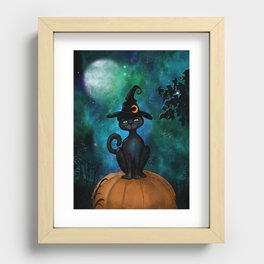 Witch's Familiar on a Pumpkin Recessed Framed Print