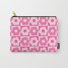Floral Checker Pink Carry-All Pouch