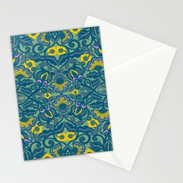Blue Vines and Folk Art Flowers Pattern Stationery Cards