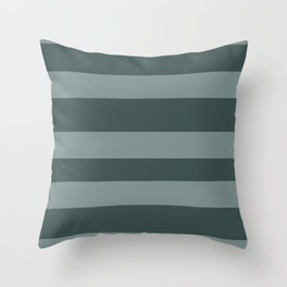 Scarborough Green PPG1145-5 Bold Hand Drawn Horizontal Stripes on Night Watch PPG1145-7 Throw Pillow