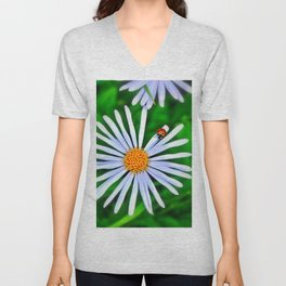 Blue daisy and a ladybird Unisex V-Neck