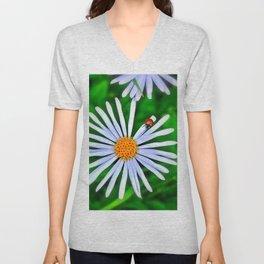 Blue daisy and a ladybird Unisex V-Neck
