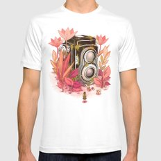 Vintage Cameras MEDIUM White Mens Fitted Tee