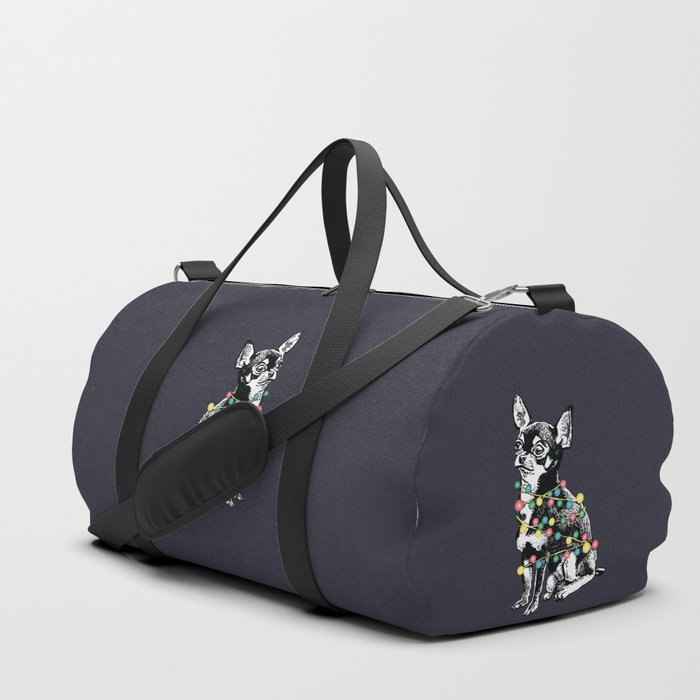 Chihuahua dog with colorful festoon Duffle Bag