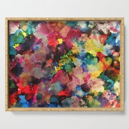 Color Burst - abstract iridescent painting in yellow, red, blue, pink and green Serving Tray