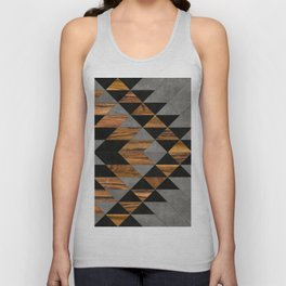 Urban Tribal Pattern 10 - Aztec - Concrete and Wood Unisex Tank Top