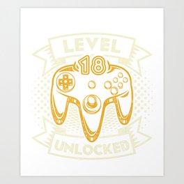 Level 18 Unlocked T-Shirt 18th Birthday Tee Art Print