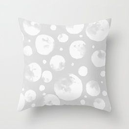 Snowballs-Gray background Throw Pillow
