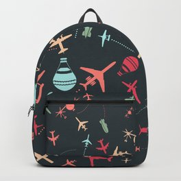 Black Airplane and Aviation Pattern Backpack