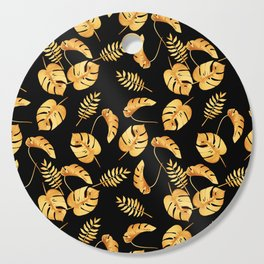 Gold Tropical Leaves Pattern Cutting Board