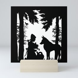 Black Silhouette Red Riding Hood Wolf in Woods Trees Mini Art Print