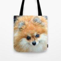 pomeranian Tote Bags featuring Pomeranian  by Julie Rawlings