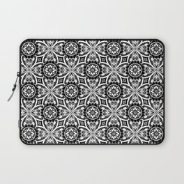 Retro . Lace black and white pattern . White lace on a black background . Laptop Sleeve