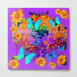 Decorative Purple Blue Butterflies Floral Dreams Metal Print