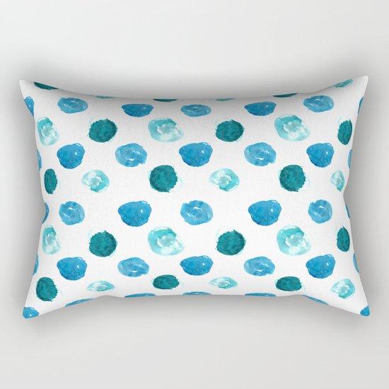 Blue watercolor polka dot pattern Rectangular Pillow