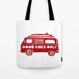 Good Vibes Only retro surfing Camper Van Tote Bag