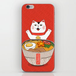 Liter of Ramen. Japanese soup and Manekineko cat. iPhone Skin