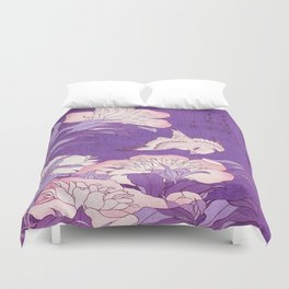 Japanese FLowers Purple Pink Duvet Cover