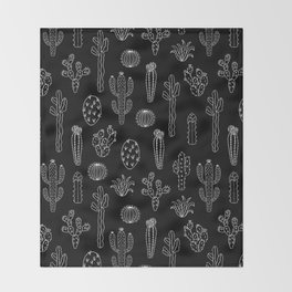 Cactus Silhouette White And Black Throw Blanket