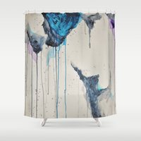 rain Shower Curtains featuring Rain by SaraWired