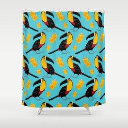 Brazilian Birds & Fruits - Channel-billed Toucan + cashews Shower Curtain