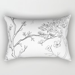 Color Your Own Chinoiserie Panels 1-2 Contour Lines - Casart Scenoiserie Collection Rectangular Pillow