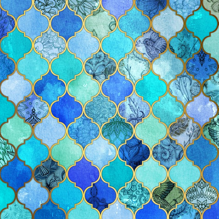 Cobalt Blue Aqua Amp Gold Decorative Moroccan Tile Pattern