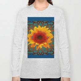 Teal Red Golden Sunflowers Yellow Pattern Art Long Sleeve T-shirt