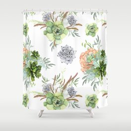 Succulents Mint Green Lavender Lilac Coral Violet Pattern Shower Curtain