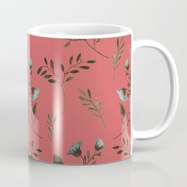 Coral Rose and Bluebells and Bluebirds Floral Pattern Flowers in Blue and Bark Brown Coffee Mug