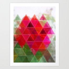 Red Rose Edges Art Triangles 1 Art Print