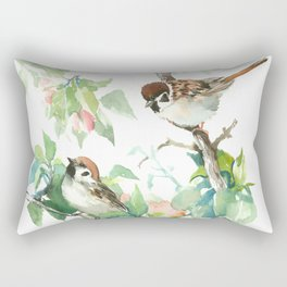 Sparrows And Apple Blossom, bird art Sage, teal green Vintage style floral bird art Rectangular Pillow