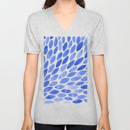 Watercolor brush strokes burst - electric blue Unisex V-Neck