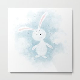 Cute  little white rabbit in the sky Metal Print