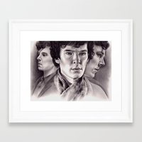 sherlock Framed Art Prints featuring Sherlock by KatePowellArt