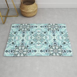 Soft Mint & Teal Detailed Lace Doodle Pattern Rug